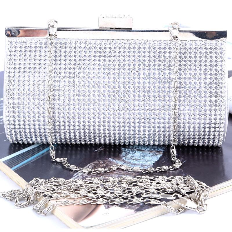 Rhinestones Women Evening Bags Gold/Silver Chain Shoulder Evening Bag Small Purse Clutch Women Handbags women famous brands стоимость