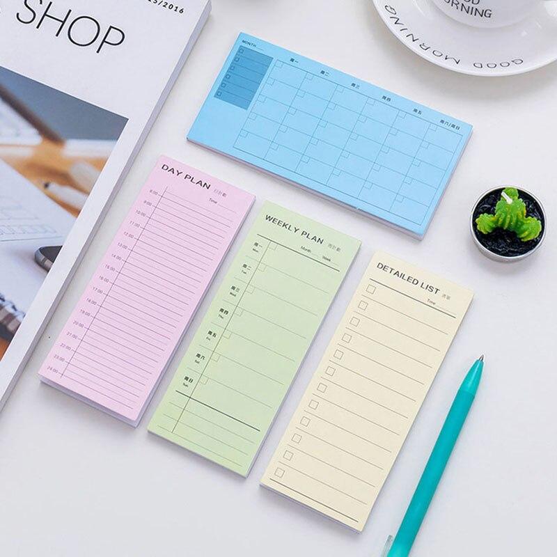 1 pçs/saco nova mesa planejador diário semanal dos desenhos animados notas pegajosas adesivos papel coreano artigos de papelaria para fazer lista de material de escritório caderno