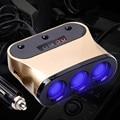 120 w 3 vías encendedor del coche splitter zócalo de múltiples tomas de corriente adaptador de corriente dual usb cargador de enchufe 12-24 v para iphone/samsung/mp3