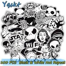 100 Stks Zwart-wit Stickers voor Laptop Motorfiets Auto Styling Bagage Fiets Skateboard Vinyl Decals DIY Sticker