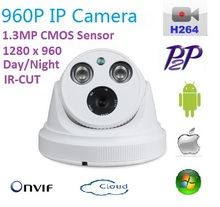 Новый type1280 * 960 P H.264 1.3 мегапиксельная HD Onvif IP Камера P2P indoor с IR-CUT Лучший ночного видения сети Купольная Камера