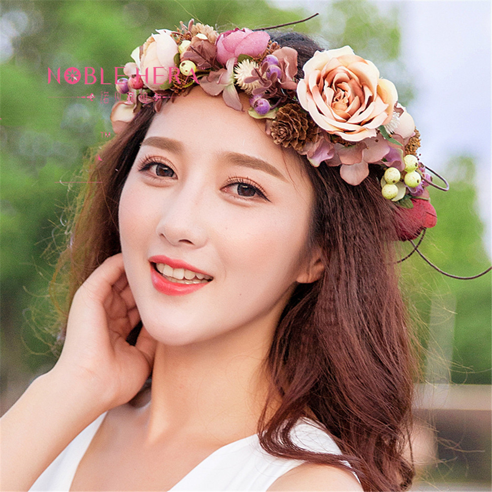 Bridal Flower Wreath Women Girl Flower Crown Adjustable With Rose Pinecone 2017 New Hair Accessories Kid Wedding Party advanced learners grammar a self study reference