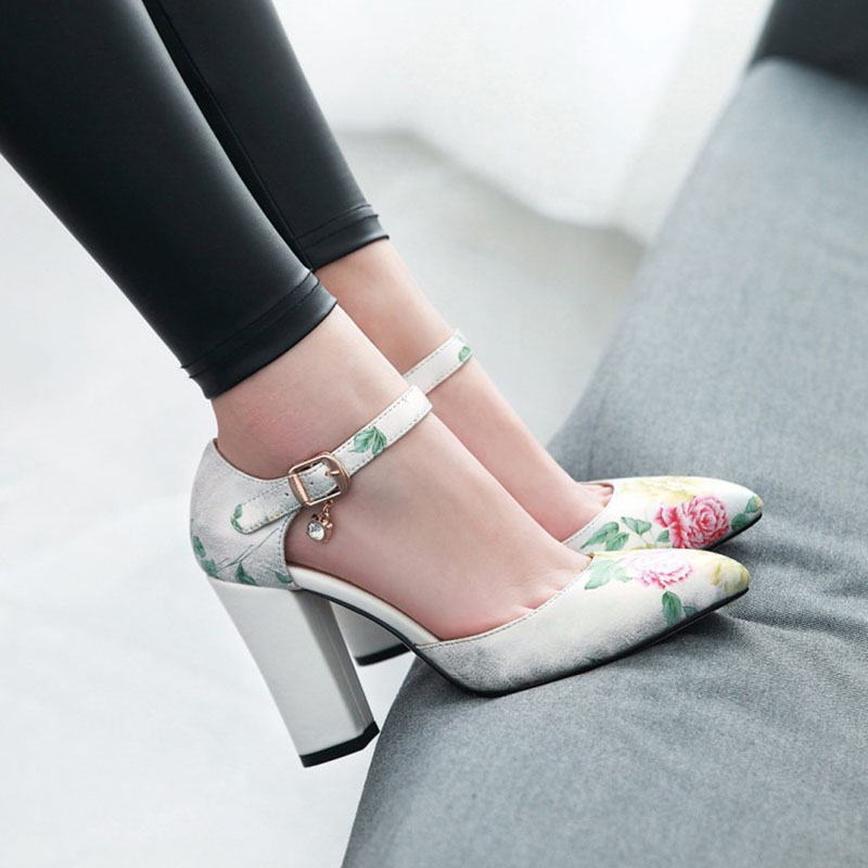 2018 Women Pumps High Heels Woman Shoes Brand Spring Pointed Toe Ankle Strap Pumps Flower Thick Heel Wedding Shoes Plus Size 45 3