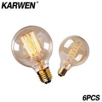 KARWEN-bombilla Edison Retro Vintage, E27, 40W, G95, G80, 220V, filamento incandescentes antiguas para lámpara colgante, 6 uds.