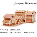 3D Wooden Puzzles Jiangnan Watertown Model Assembly Jigsaws DIY Educational Toys Gift For Kids Free Shipping