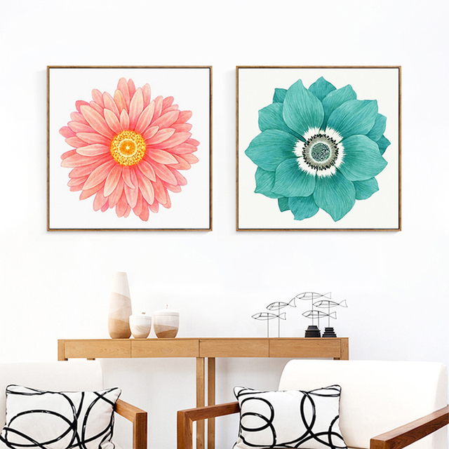 HAOCHU Rustic African Daisy Cartoon Sunflower Canvas Painting Pink Decorative Wall Picture Girls Bedroom Living Room