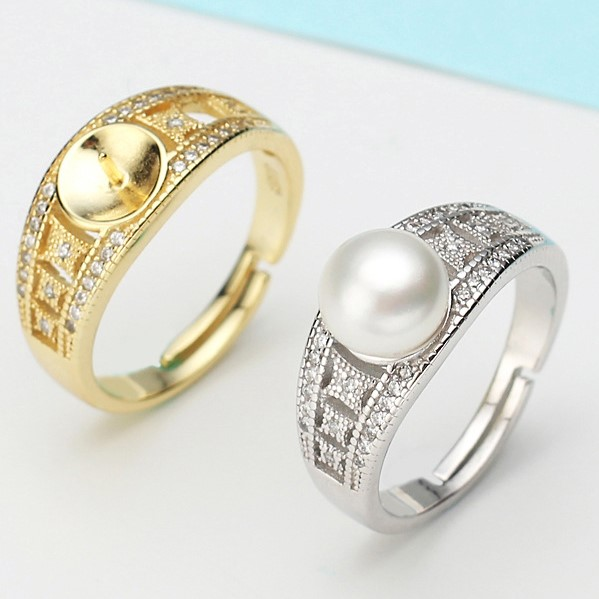 2 color Pearl Ring Mountings Ring Findings Adjustable Ring Jewelry Parts Fittings Charm Accessories Silver Jewellery
