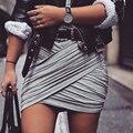2016 ropa americana de la calle moda mujeres señora de cintura alta falda atractiva del vendaje de Bodycon veces cruzar lápiz faldas 5 colores