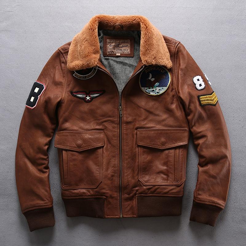 2019 Men's real fur collar militaly flight Jacket brown Genuine Leather jacket Men leather Bomber coat male