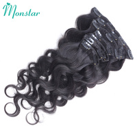 Monstar Peruvian Body Wave Natural Hair Clip Ins 7Pc/Set 120G Full Head Body Wavy Remy Human Hair Extensions with Clips