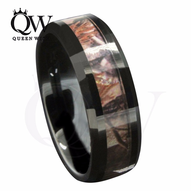 Queenwish 8mm Black Tungsten Menu0027S Outdoor Hunting Camouflage Wedding Band  Ring Statement Couple Rings Jewelry Size