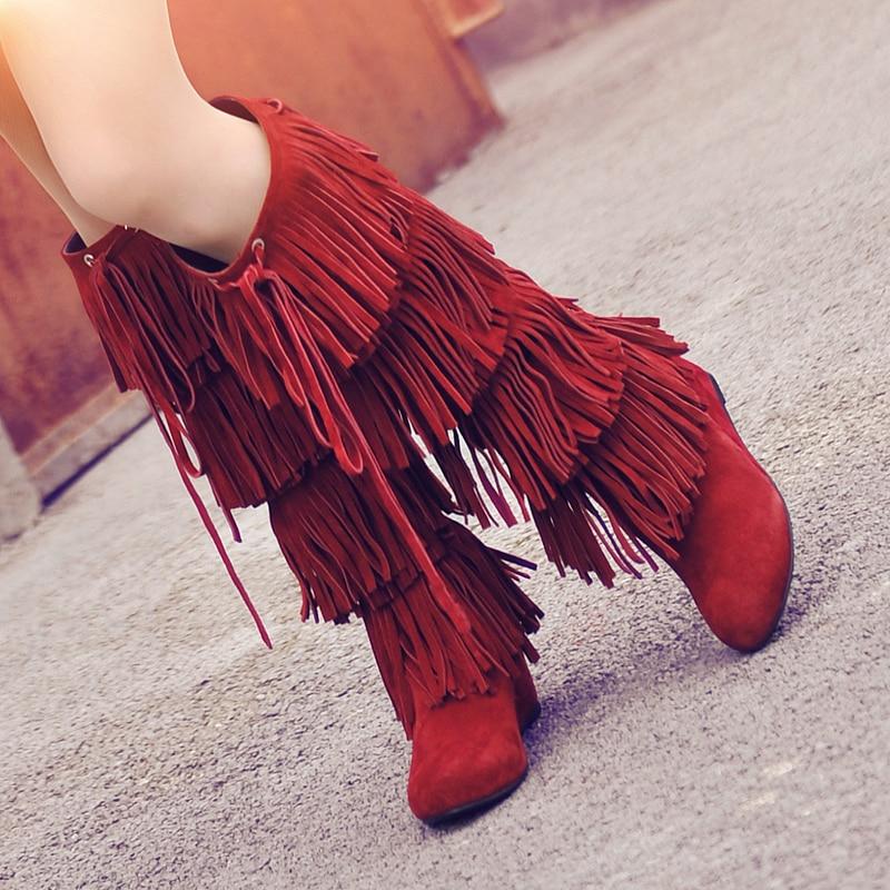 여성 봄 가을 프린지 정품 가죽 무릎 높은 부츠 짧은 플러시 두꺼운 따뜻한 웨지 하이힐 스노우 롱 부츠 20161220-에서무릎 - 하이 부츠부터 신발 의  그룹 1