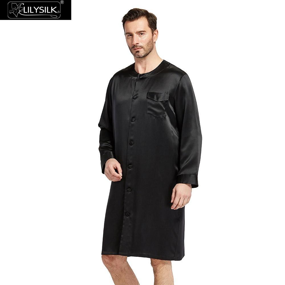 9d5a2d0167 LILYSILK Robe Men Kimono Sleepwear Male Silk Button Front ...