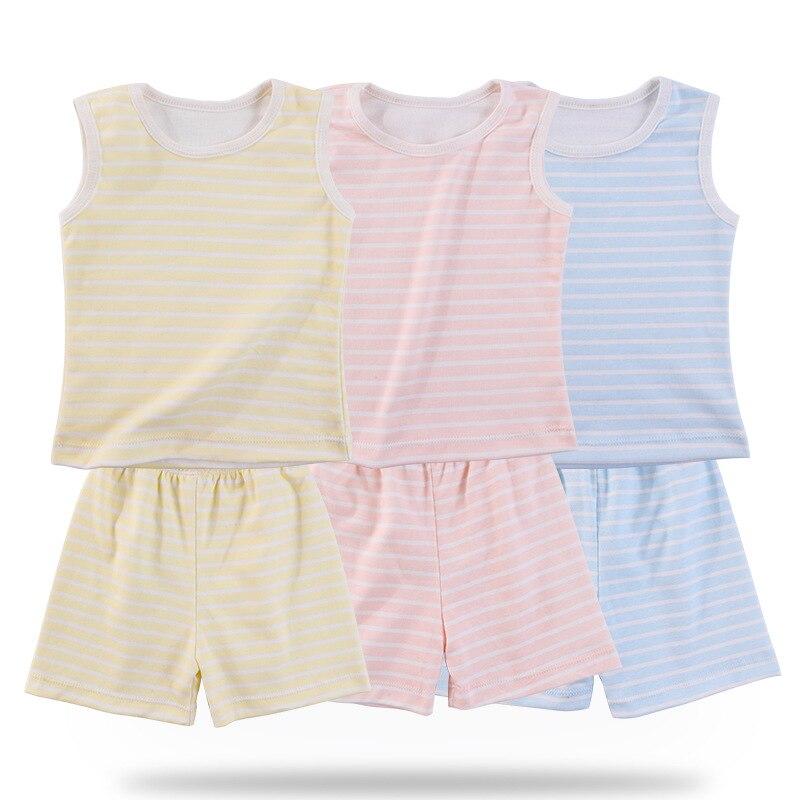 LYONAVA 2018 new summer baby sleeveless striped round collar comfortable pleasantly cool set cotton underwear vest direct