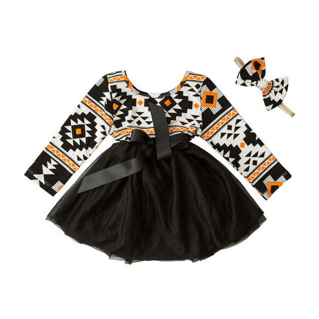 Niños Vestidos Para Niñas de Flores de Otoño Nueva Primavera Bola de La Muchacha vestido de Fiesta Vestidos Estampados Niña Ropa de Niños Conjunto Con la diadema