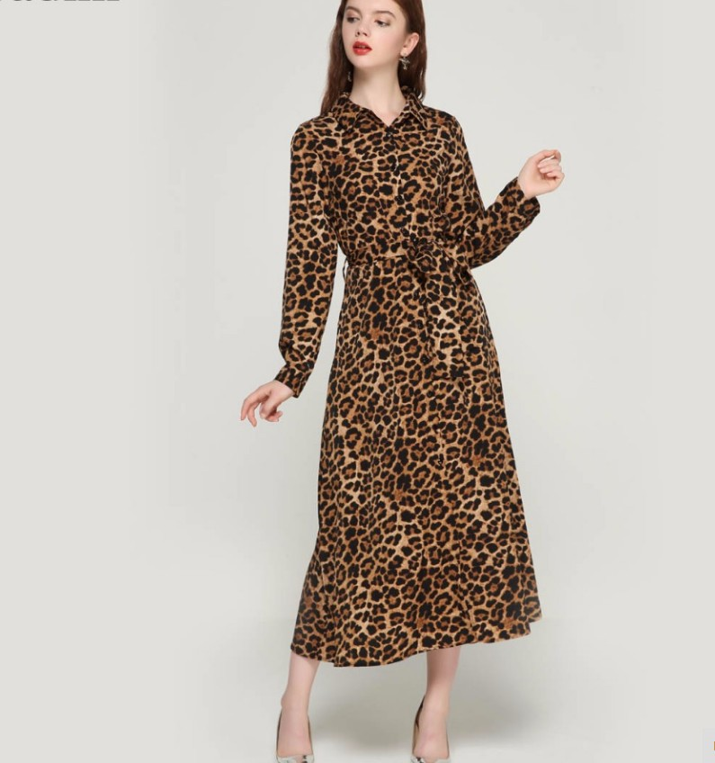 Women leopard print ankle length dress bow tie sashes long sleeve retro ladies casual chic dresses