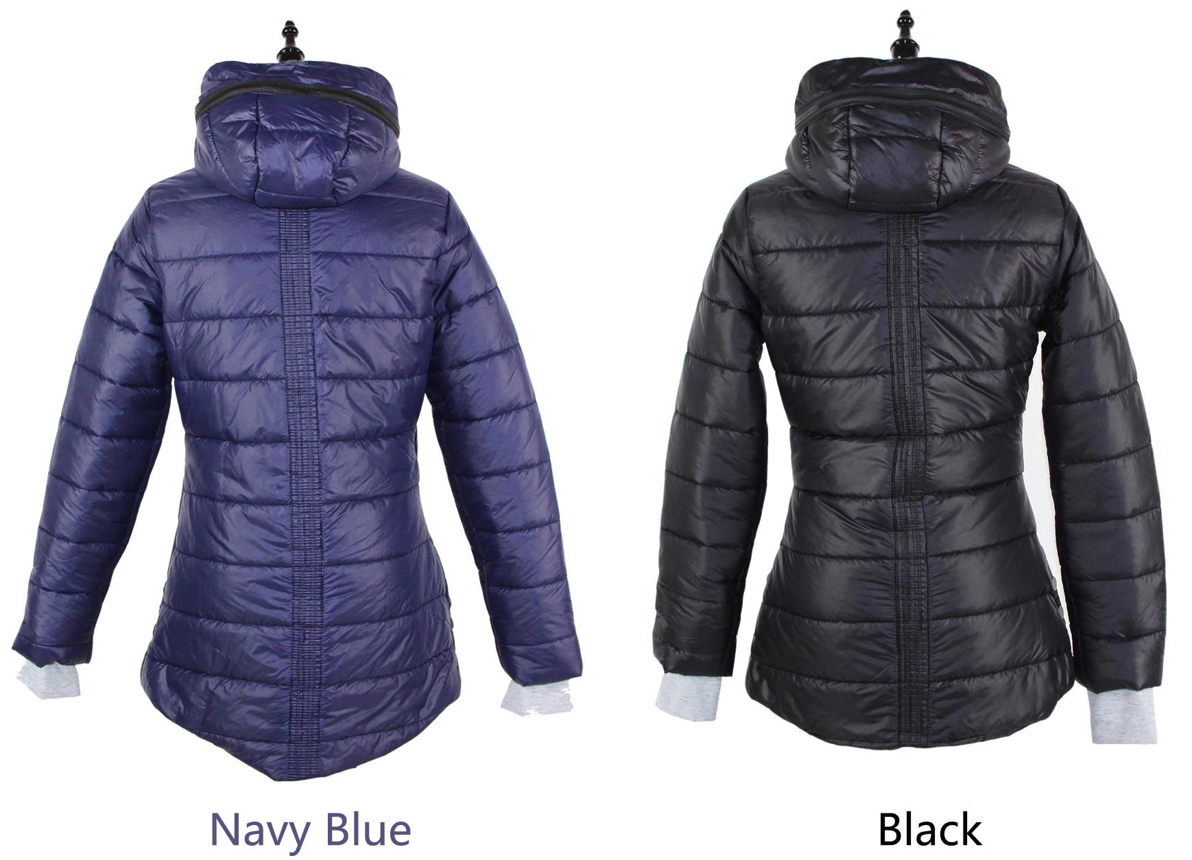 Delle donne giacche invernali navy e nero nuovo lungo giù parka in