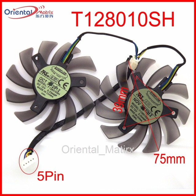 US $14 07 12% OFF|2pcs/lot T128010SH DC 12V 0 25A 75mm For ASUS R9 270X  HD7970 GTX770 DirectCU II Graphics Card Fan 5Pin-in Fans & Cooling from