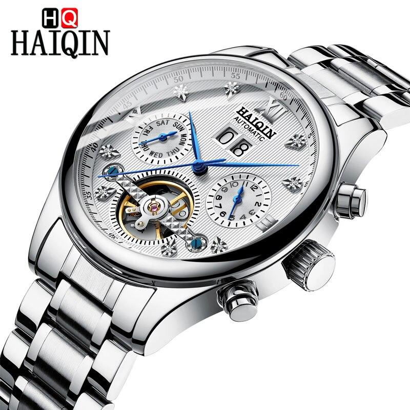 HAIQIN Men's watches Automatic mechanical Men Watches Business Watch men top brand luxury Military Waterproof Tourbillon Clock 10