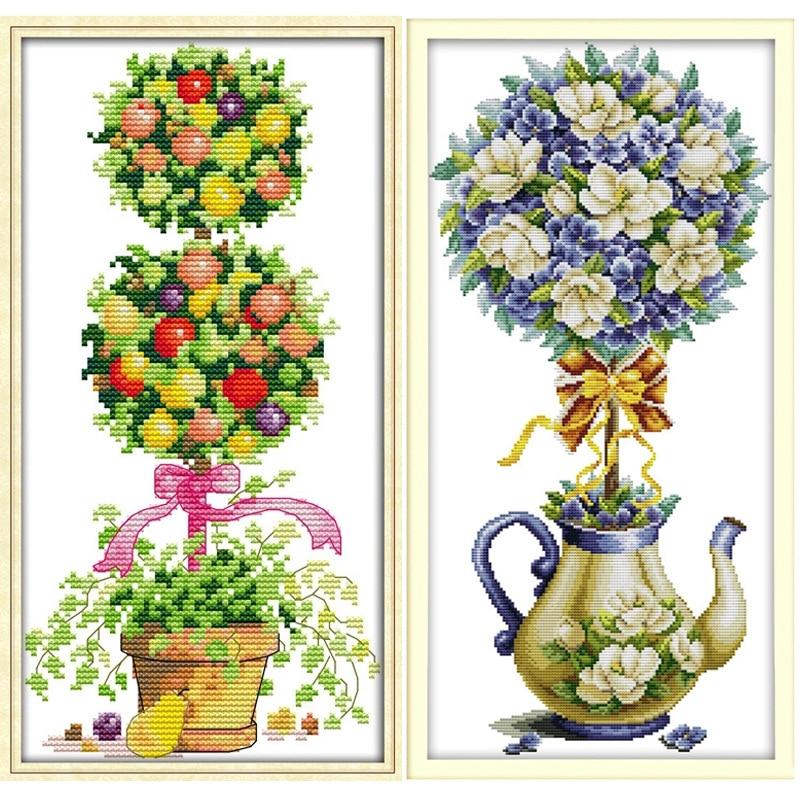 Schöne Magnolia Teekanne Printed Canvas DMC Chinesische Stickpackungen gezählt Kreuzstich gesetzt Stickerei Hand