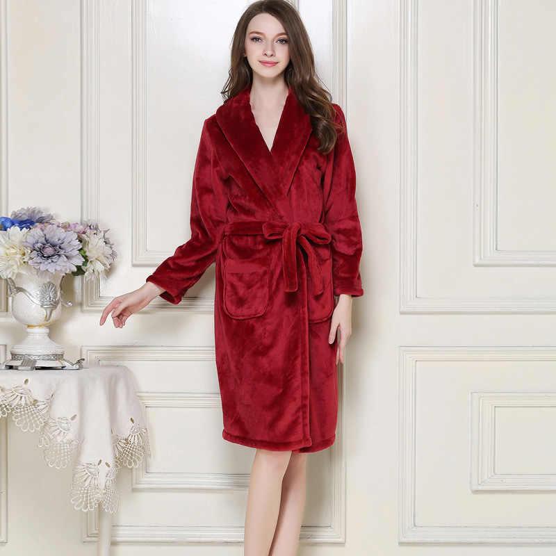 2afbb04ee9 ... Plus Size XXXL Chinese Women Winter Thick Robe Gown Coral Fleece Kimono  Bathrobe Nightgown Sleepwear Lover ...