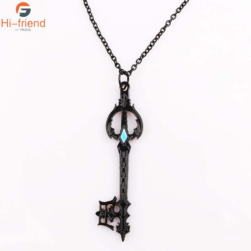 SC New Hot Game Kingdom Hearts Necklace Gun Black Forgotten Blade Alloy Jewelry Accessories Figura Mujeres Hombres Cosplay Regalo