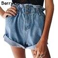 BerryGo botão hemming denim shorts Mulheres da praia do verão Ocasional azul preto shorts jeans Feminino 2017 bolso shorts de cintura alta