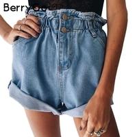 Berrygo زر عارضة الأزرق هيمينغ الدينيم سراويل النساء الصيف الشاطئ الأسود الجيب ارتفاع الخصر سراويل الجينز السراويل النسائية 2017
