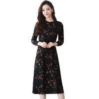 2018 Fashion Plus Size Women's Clothing Large Size Casual Long Print Floral Dress Vintage slim Autumn Winter Dresses X113