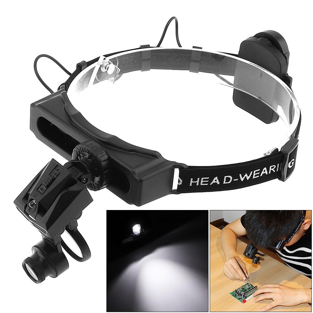 5X, 8X, 13X, 20X, 25X, 28X Headband Lupa Óculos Joalheiro Lupa LEVOU Luz Capacete Lupa para a Reparação de Terceira Mão