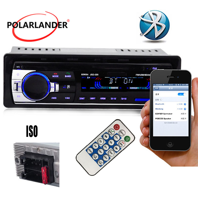 1 din Polarlander Buletooth Car Radio Mp3 Player FM USB SD TF AUX IN 12V Car Audio Stereo with ISO Connector Remote Control image