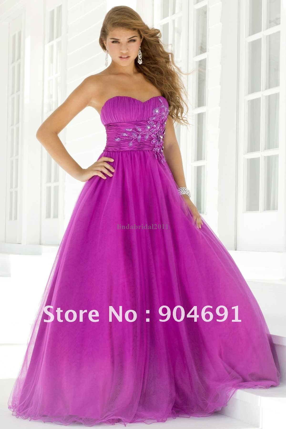 100 Gurantee Strapless Sweetheart Purple Green Organza