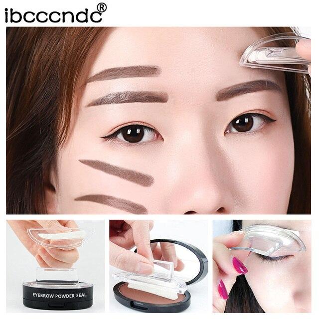 Double Color Eyebrow Powder Seal Makeup Brown Eye Brow Stamp Palette Long Lasting Waterproof Eyebrow Shadow Stencil Kit Cosmetic 4