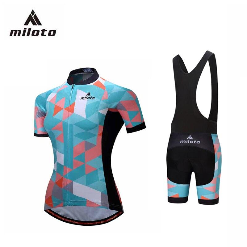 Miloto 2017 Велоспорт Джерси женщины Велоспорт одежда комплект лыжи катание комплекты рубашка дышащий гель площадку шорты Джерси устанавливает следующие велогонки