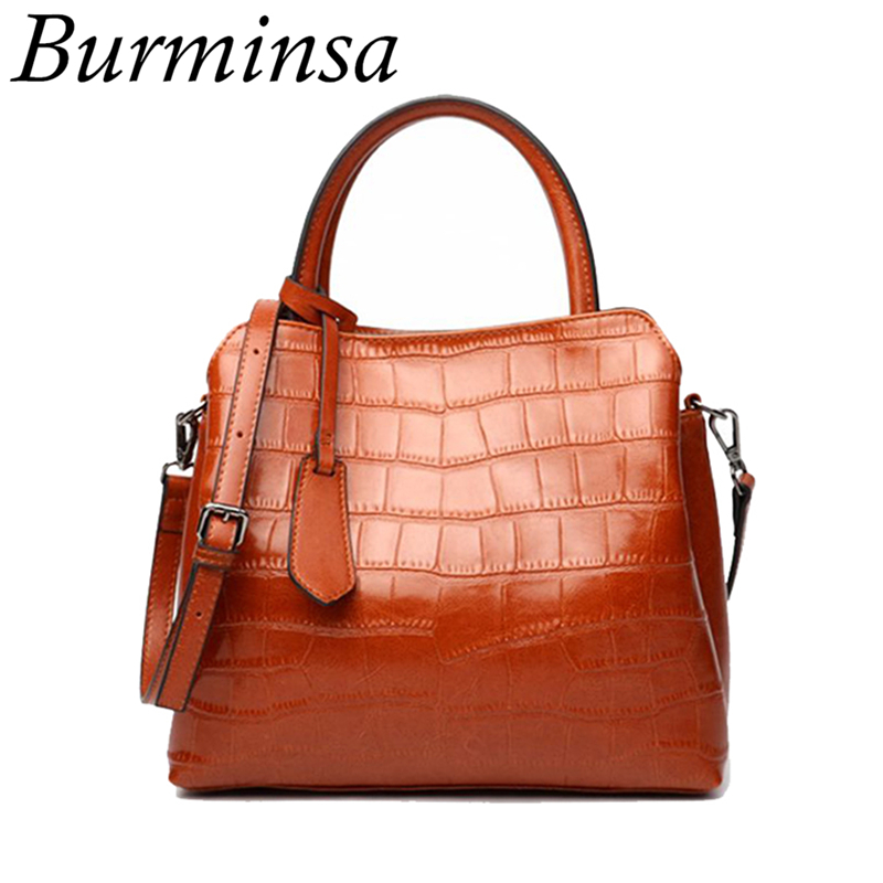 Burminsa Brand Stone Pattern Genuine Leather Bags Vintage Large Capacity Oil Wax Leather Handbags Tote Shoulder Bags For WomenBurminsa Brand Stone Pattern Genuine Leather Bags Vintage Large Capacity Oil Wax Leather Handbags Tote Shoulder Bags For Women