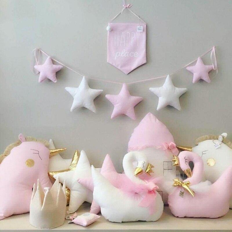Nordic เด็กห้อง Handmade Nursery Star Garlands คริสต์มาสเด็กตกแต่งผนังห้องการถ่ายภาพ Props ตกแต่ง