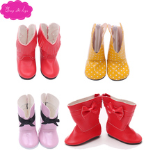 Doll shoes Red yellow purple black lovely winter boots PU fabric fit 18 inch American dolls Girl and 43 cm baby s38