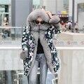 Chaqueta de invierno mujeres de la capa parka 2016 nuevo Camuflaje natural real big silver fox cuello de Piel Con Capucha larga para mujer pato abajo chaquetas