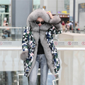 winter jacket coat women parka 2016 new Camouflage natural real big silver fox Fur collar Hooded long womens duck down jackets