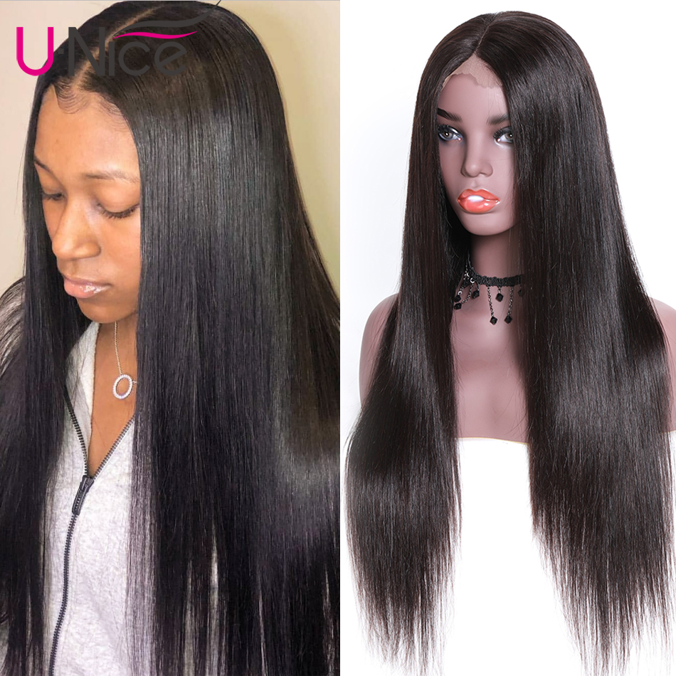 Unice Wigs Hair Natural-Color 100%Human-Hair-Wigs Straight Full-Lace Brazilian 14-26inch