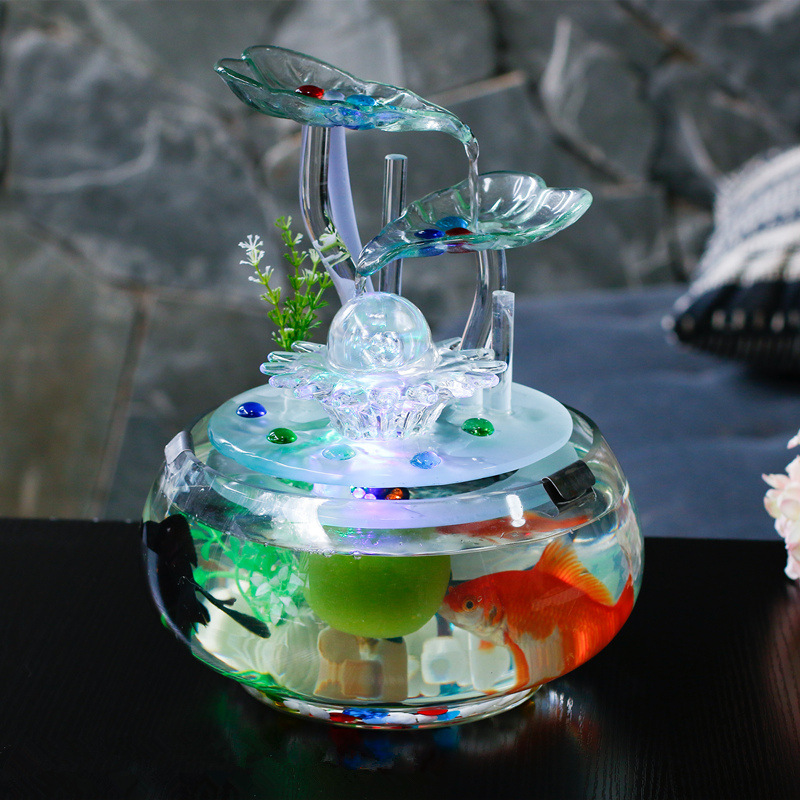 25cm glass water fountain fengshui ornament creative for Feng shui fish tank