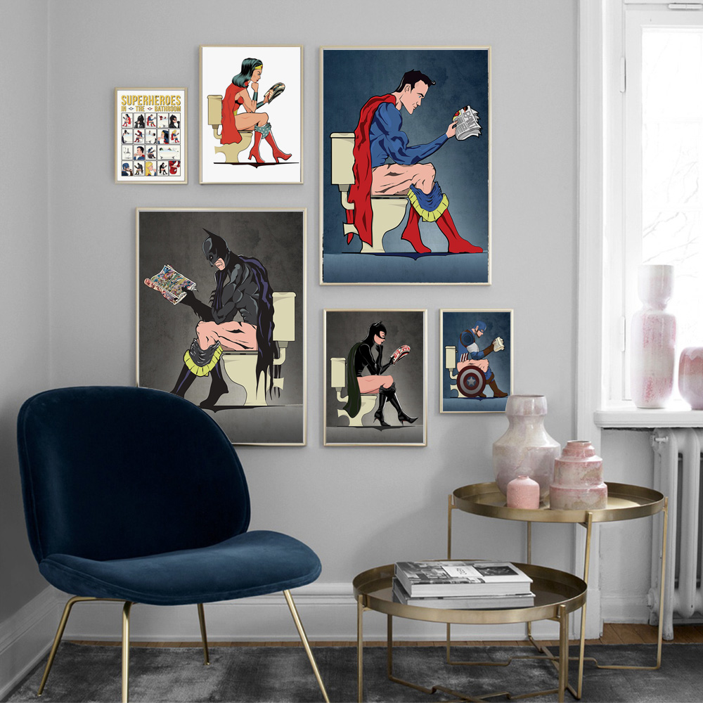 Superhero Girl Catwoman Thor Batman Wall Art Canvas Painting Nordic Posters And Prints Wall Pictures For Toilet Bathroom Decor Buy At The Price Of 3 60 In Aliexpress Com Imall Com