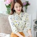 Primavera camisa de la mujer 2017 mujer blusa de gasa de manga larga nueva llegadas de verano moda casual impresión floral tops mujeres clothing