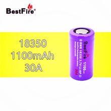 1 adet En Iyi Ateş 18350 Pil 1100 mAh 30A 3.7 V Li ion Şarj Edilebilir Kamry K1000 E Boru Sigara Vape MOD mod B024 El Feneri