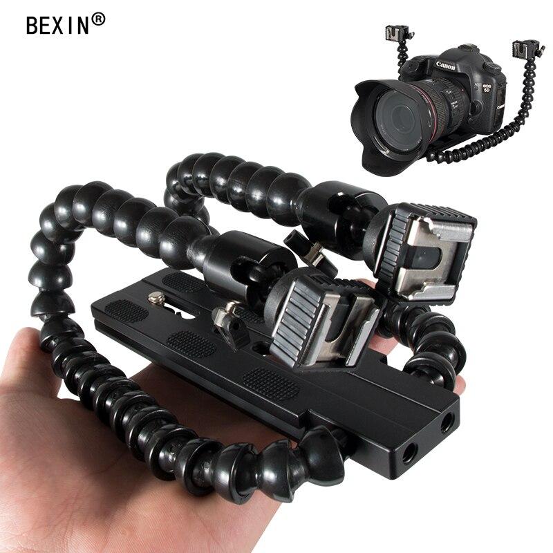 Adaptateur de chaussure Flash Flexible double bras support de Flash de chaussure chaude support de montage lampe Flash support de lumière de remplissage pour Canon Nikon
