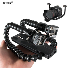 Flexible Two Heads Hot Shoe Twin Dual Double arm joint Macro shot Adjustable Flash Bracket Holder for canon NIKON flash light adjustable quad flash bracket aluminum boom arm with four hot shoes speedlite holder 3 8 screw for light stand studio lighting