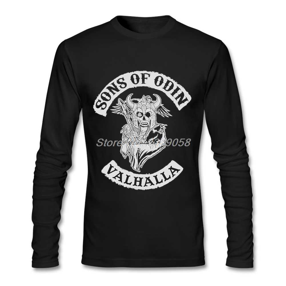 Mens Tees Áo Sons của Odin Retro T-Shirt Giá Rẻ Viking Tee Tops Đồ Họa Dài Tay Áo T Áo Sơ Mi Nam