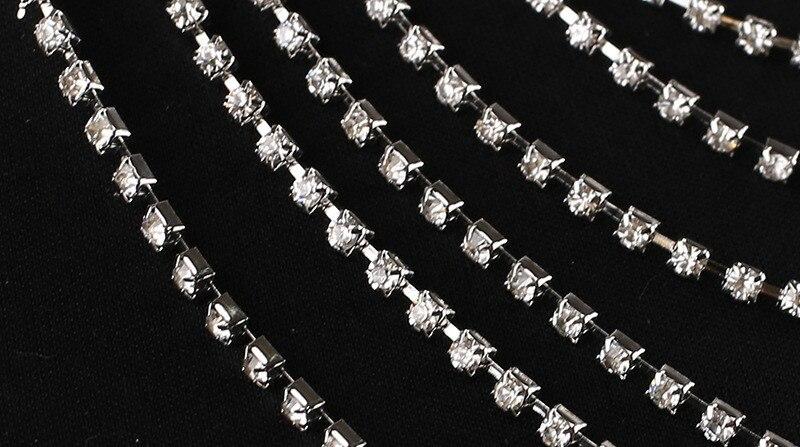 JaneVini 2018 luxueux cristal mariée épaule chaîne Bling strass collier de mariage femmes épaule gland chaînes bijoux - 5