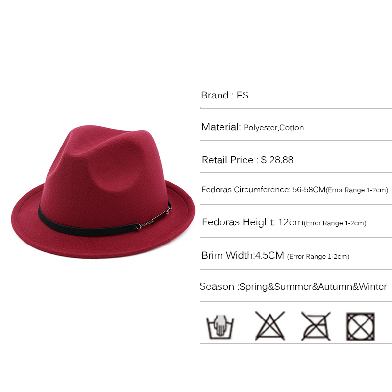 ... Women Elegant Top Jazz Cap 2018. FS Autumn Black Red Cotton Trilby Felt Fedora  Hat Men Vintage Wide Brim Winter Hats For bb5aa92e49d3
