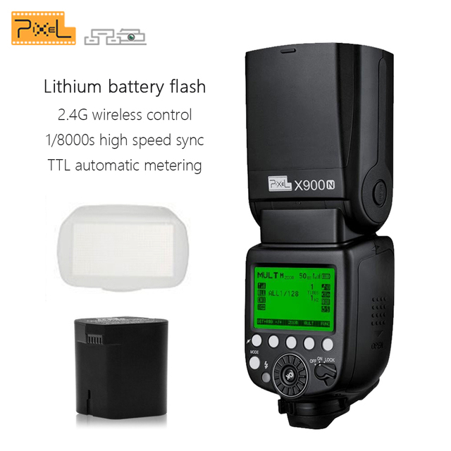 Pixel X900N X900 TTL 2.4G HSS Wireless Multifunctional Lithium Battery Flash Speedlite for Nikon DSLR Cameras with LED Light